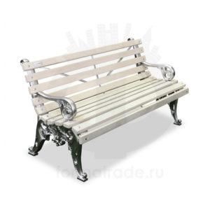 Скамейка алюминиевая «Белые ночи» с подлокотниками
