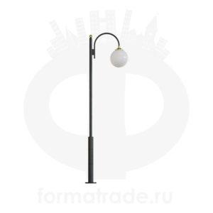 Стальной фонарный столб Т-05-1 со светильником