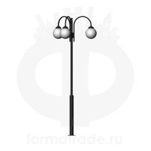 Стальной фонарный столб Т-05-3 со светильниками