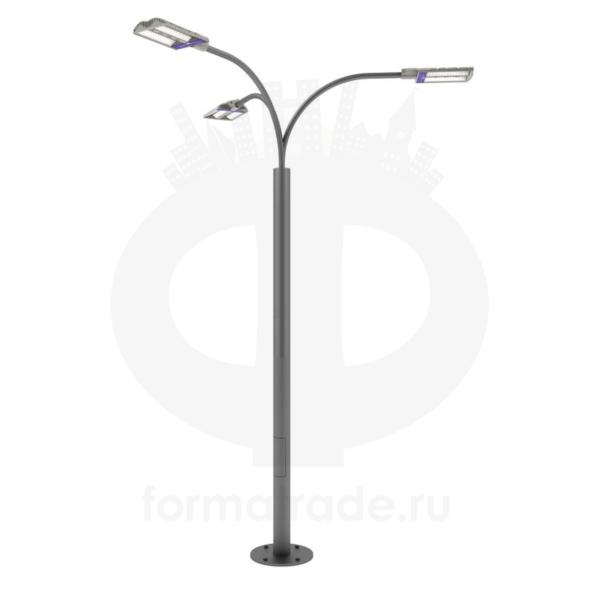 Стальной фонарный столб «Техно3-С» со светильником