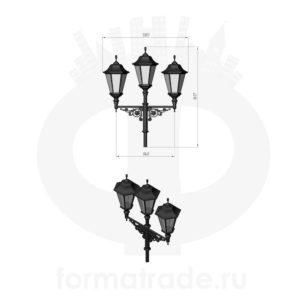 Фонарь уличный «Пушкин-3» со светильниками