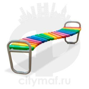 Дворовая скамейка «Радуга» для детских площадок