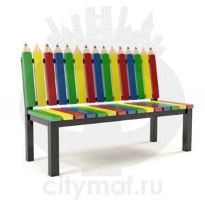 Скамейка деревянная для детских площадок «Палитра»