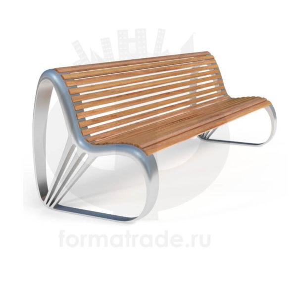 Скамейка алюминиевая «Хромиум» с термодеревом