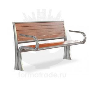 Скамейка алюминиевая «Сидней» с подлокотниками