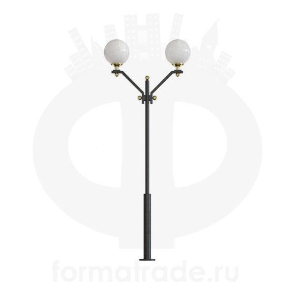 Стальной фонарный столб Т-08-2 со светильниками