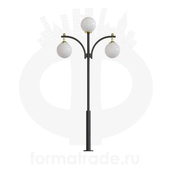 Стальной фонарный столб Т-12-3 со светильником