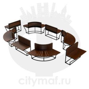 Полукруглая модульная скамейка «Боярд»