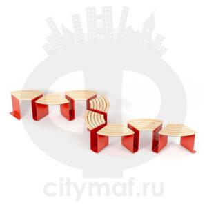 Модульная скамейка «Эраунд 5» на8секций