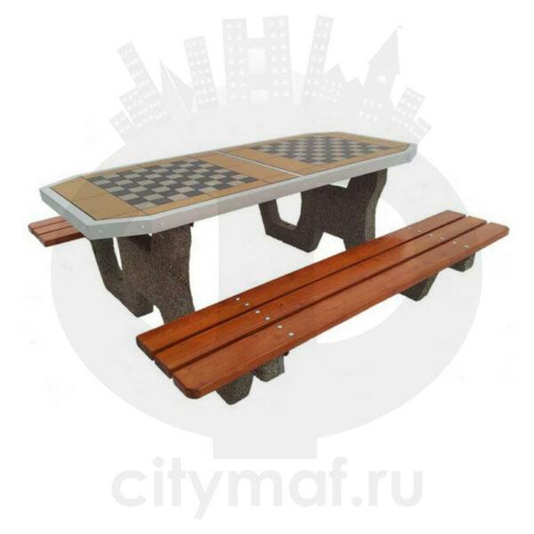 Шахматный стол со скамейками из бетона