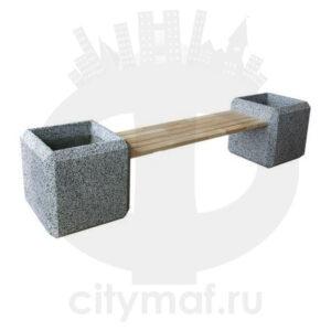 Скамейка из бетона «Барбара» с двумя вазонами