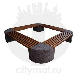 Скамейка из бетона «Ринг» круговая на 4 основаниях из бетона