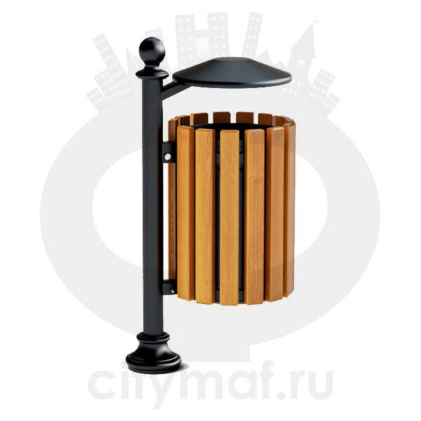 Урна комбинированная чугунная на столбике №4 с крышкой