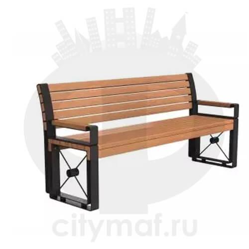 Скамейка стальная «София» с подлокотниками