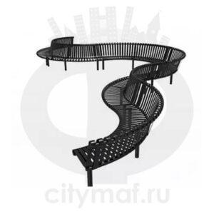 Скамейка длинная фигурная «Темп»