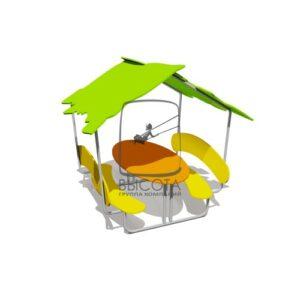 ВСТ 5800 Столик со скамейками и навесом